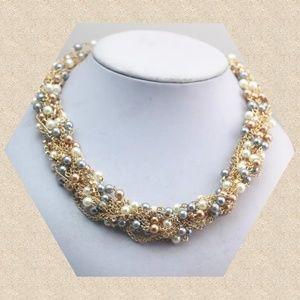 Faux Pearl Twisted Statement Necklace